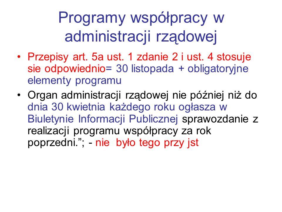 Programy współpracy w administracji rządowej Przepisy art. 5a ust. 1 zdanie 2 i ust. 4 stosuje sie odpowiednio= 30 listopada + obligatoryjne elementy