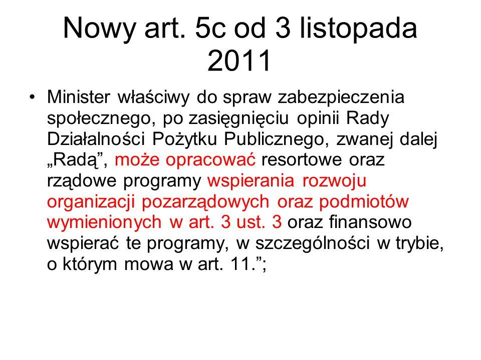 Nowy art. 5c od 3 listopada 2011 Minister właściwy do spraw zabezpieczenia społecznego, po zasięgnięciu opinii Rady Działalności Pożytku Publicznego,