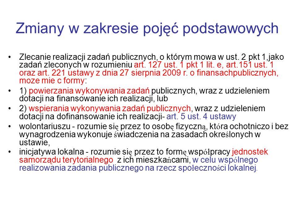 Zmiany w zakresie pojęć podstawowych Zlecanie realizacji zadań publicznych, o którym mowa w ust. 2 pkt 1,jako zadań zleconych w rozumieniu art. 127 us