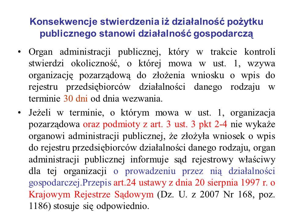 Konsekwencje stwierdzenia iż działalność pożytku publicznego stanowi działalność gospodarczą Organ administracji publicznej, który w trakcie kontroli
