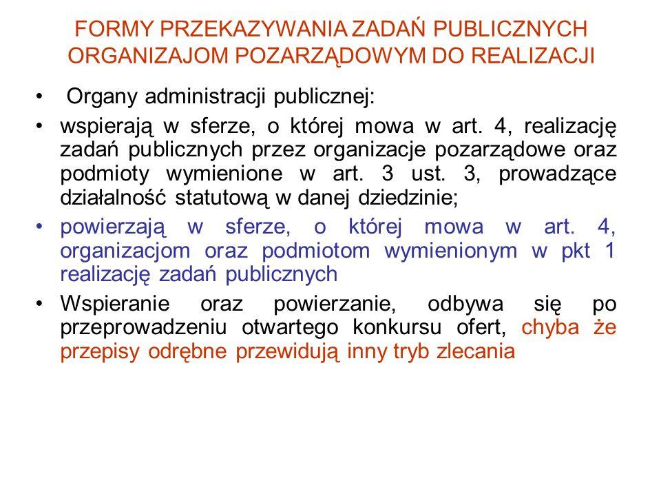 FORMY PRZEKAZYWANIA ZADAŃ PUBLICZNYCH ORGANIZAJOM POZARZĄDOWYM DO REALIZACJI Organy administracji publicznej: wspierają w sferze, o której mowa w art.
