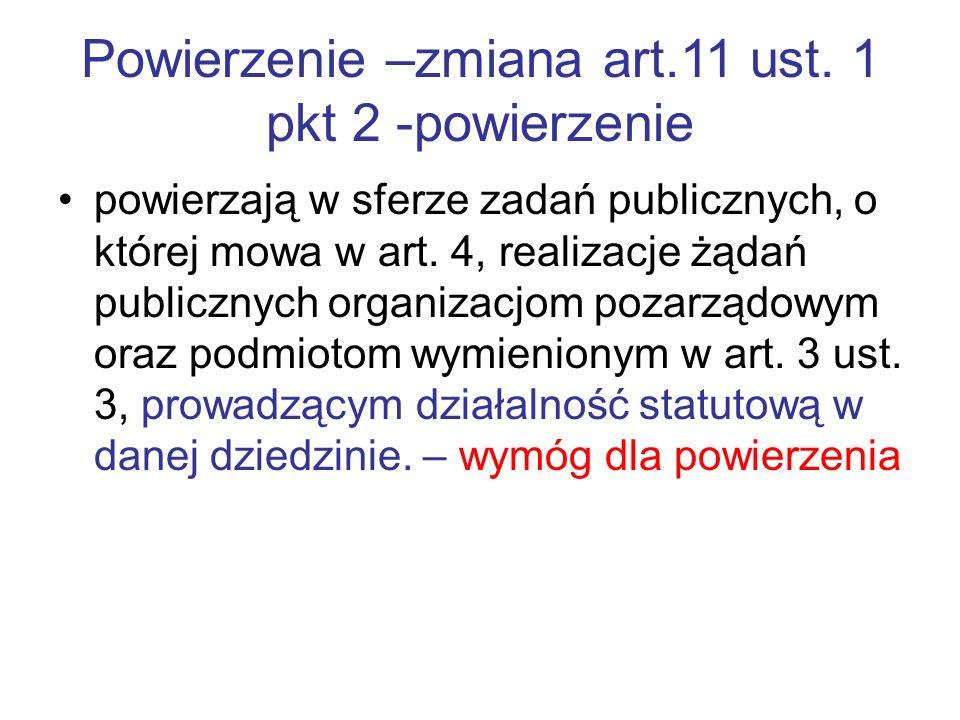 Powierzenie –zmiana art.11 ust. 1 pkt 2 -powierzenie powierzają w sferze zadań publicznych, o której mowa w art. 4, realizacje żądań publicznych organ