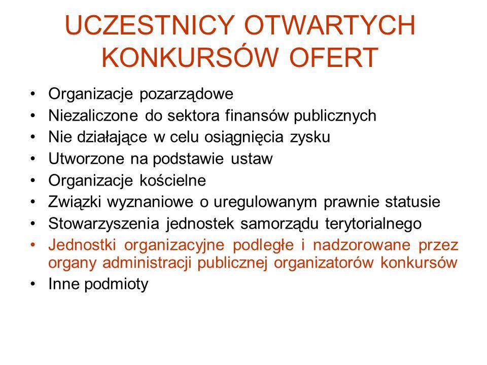 UCZESTNICY OTWARTYCH KONKURSÓW OFERT Organizacje pozarządowe Niezaliczone do sektora finansów publicznych Nie działające w celu osiągnięcia zysku Utwo