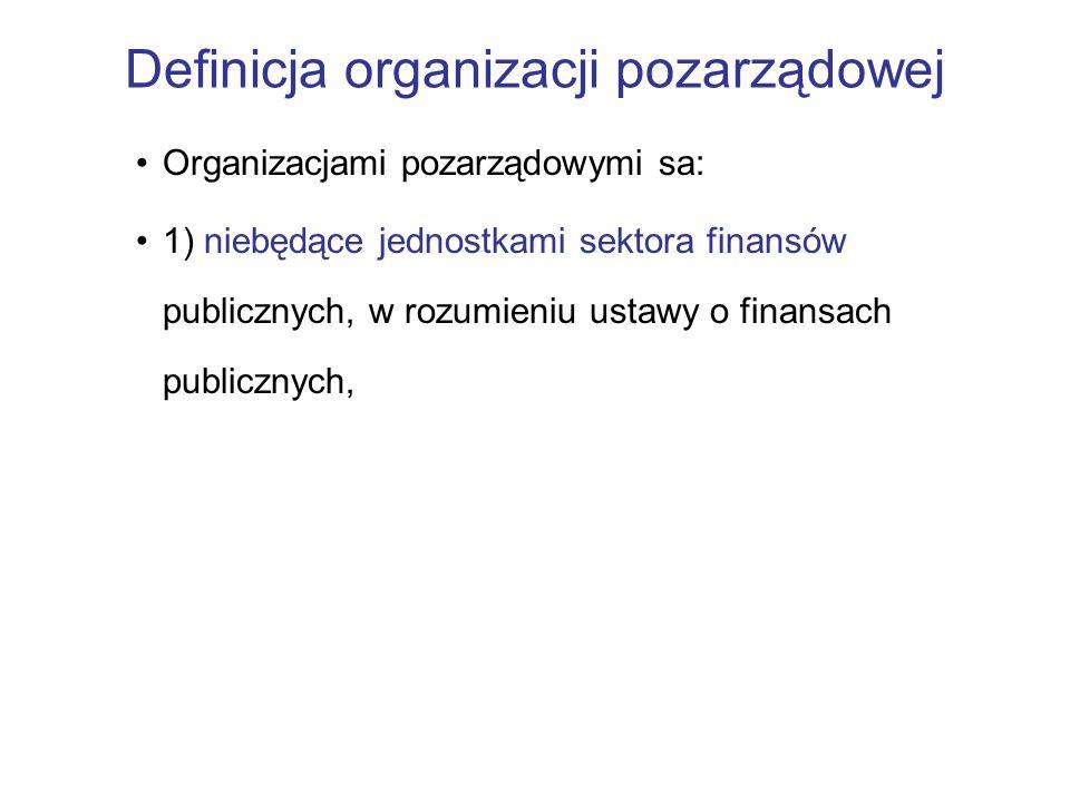 Definicja organizacji pozarządowej Organizacjami pozarządowymi sa: 1) niebędące jednostkami sektora finansów publicznych, w rozumieniu ustawy o finans