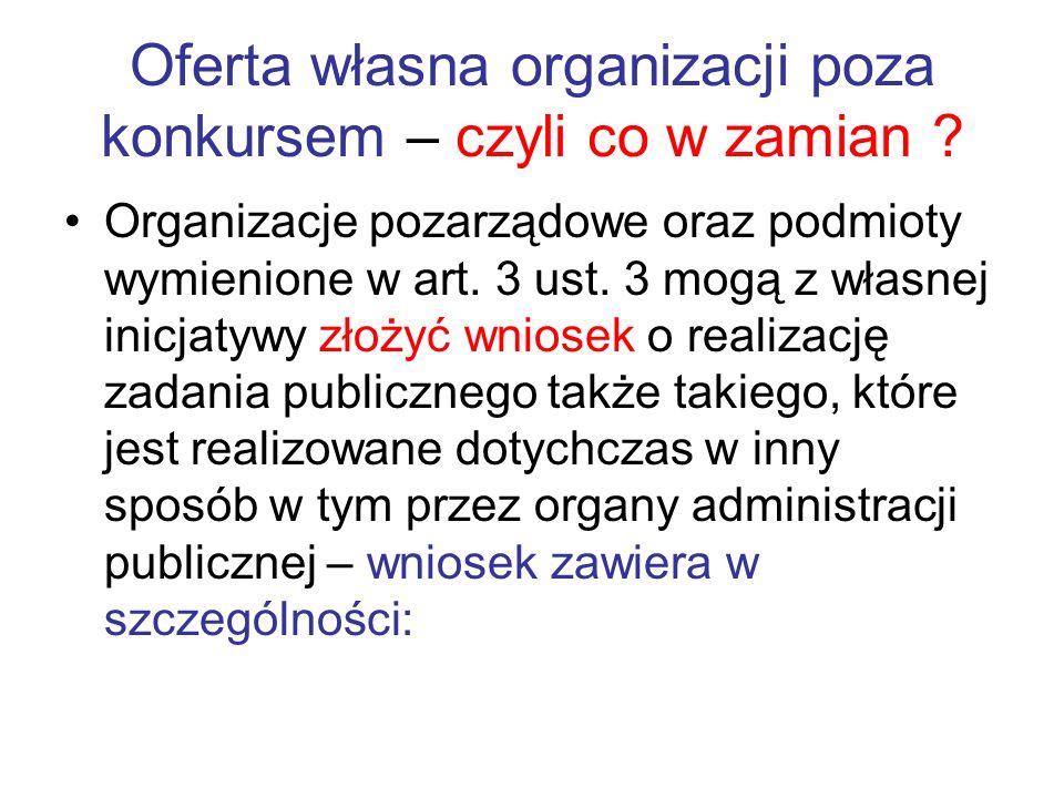 Oferta własna organizacji poza konkursem – czyli co w zamian ? Organizacje pozarządowe oraz podmioty wymienione w art. 3 ust. 3 mogą z własnej inicjat