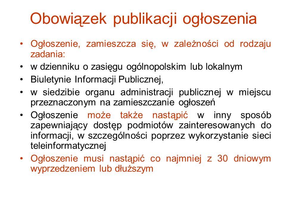 Obowiązek publikacji ogłoszenia Ogłoszenie, zamieszcza się, w zależności od rodzaju zadania: w dzienniku o zasięgu ogólnopolskim lub lokalnym Biuletyn