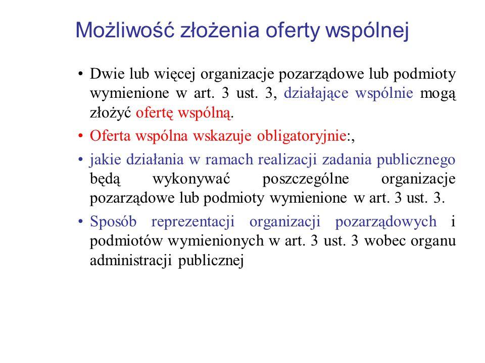Możliwość złożenia oferty wspólnej Dwie lub więcej organizacje pozarządowe lub podmioty wymienione w art. 3 ust. 3, działające wspólnie mogą złożyć of