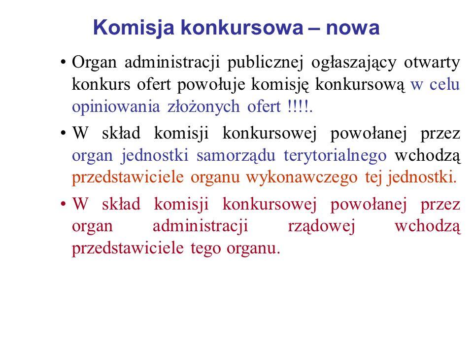 Komisja konkursowa – nowa Organ administracji publicznej ogłaszający otwarty konkurs ofert powołuje komisję konkursową w celu opiniowania złożonych of