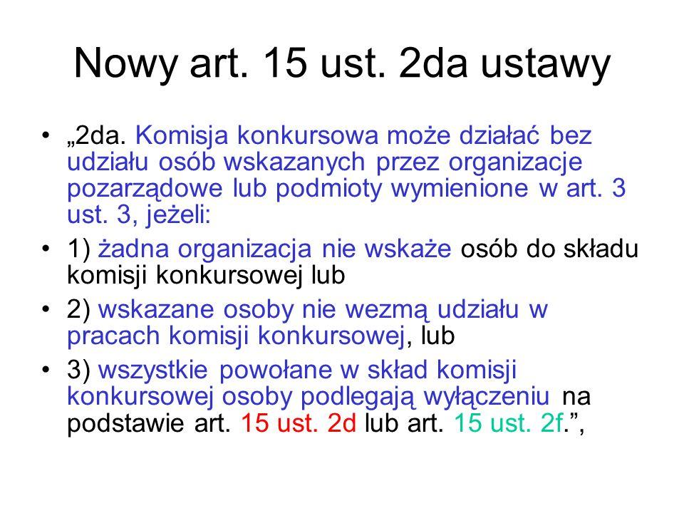 """Nowy art. 15 ust. 2da ustawy """"2da. Komisja konkursowa może działać bez udziału osób wskazanych przez organizacje pozarządowe lub podmioty wymienione w"""