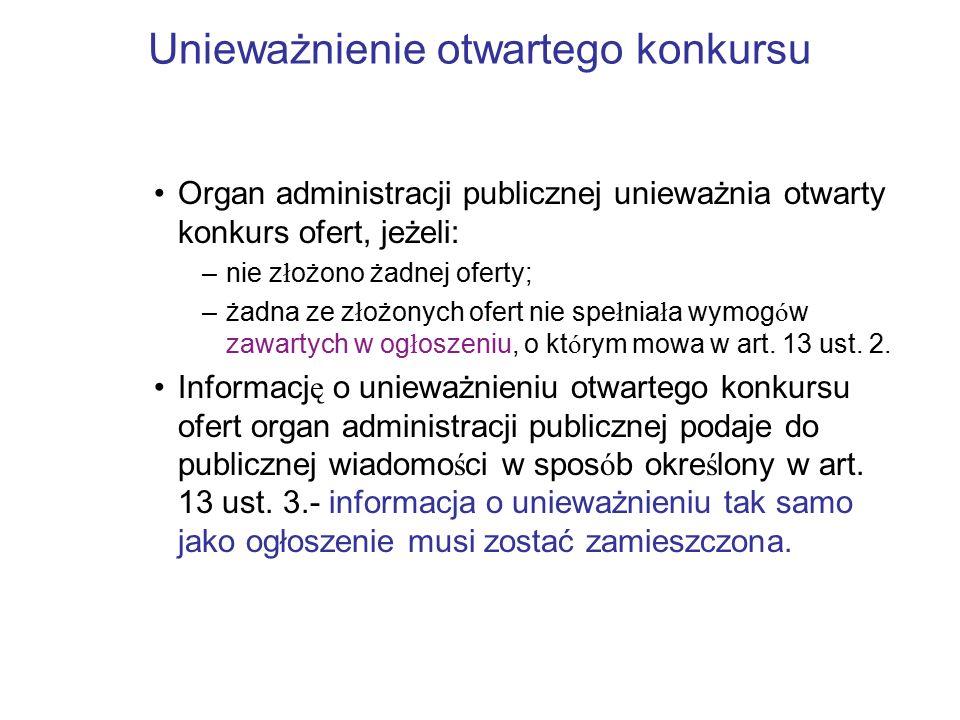 Unieważnienie otwartego konkursu Organ administracji publicznej unieważnia otwarty konkurs ofert, jeżeli: –nie z ł ożono żadnej oferty; –żadna ze z ł