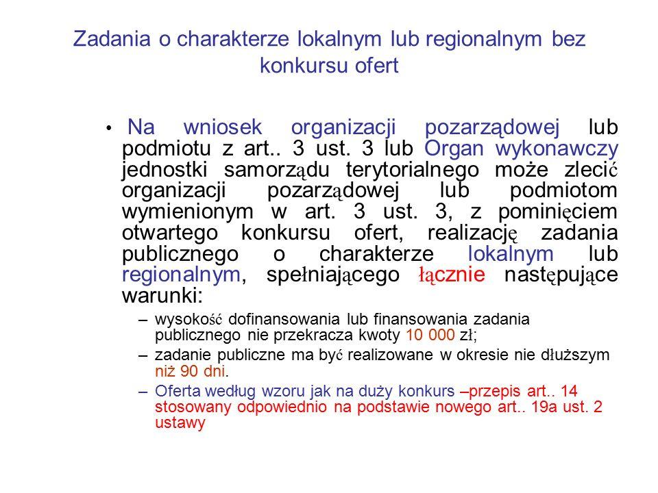 Zadania o charakterze lokalnym lub regionalnym bez konkursu ofert Na wniosek organizacji pozarządowej lub podmiotu z art.. 3 ust. 3 lub Organ wykonawc