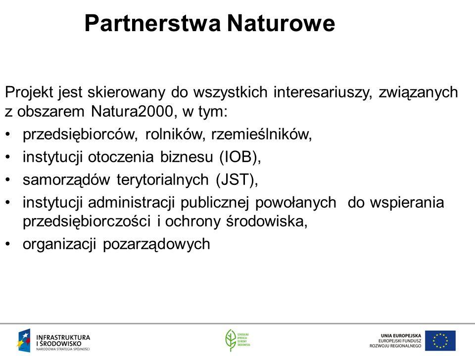 Partnerstwa Naturowe Projekt jest skierowany do wszystkich interesariuszy, związanych z obszarem Natura2000, w tym: przedsiębiorców, rolników, rzemieślników, instytucji otoczenia biznesu (IOB), samorządów terytorialnych (JST), instytucji administracji publicznej powołanych do wspierania przedsiębiorczości i ochrony środowiska, organizacji pozarządowych