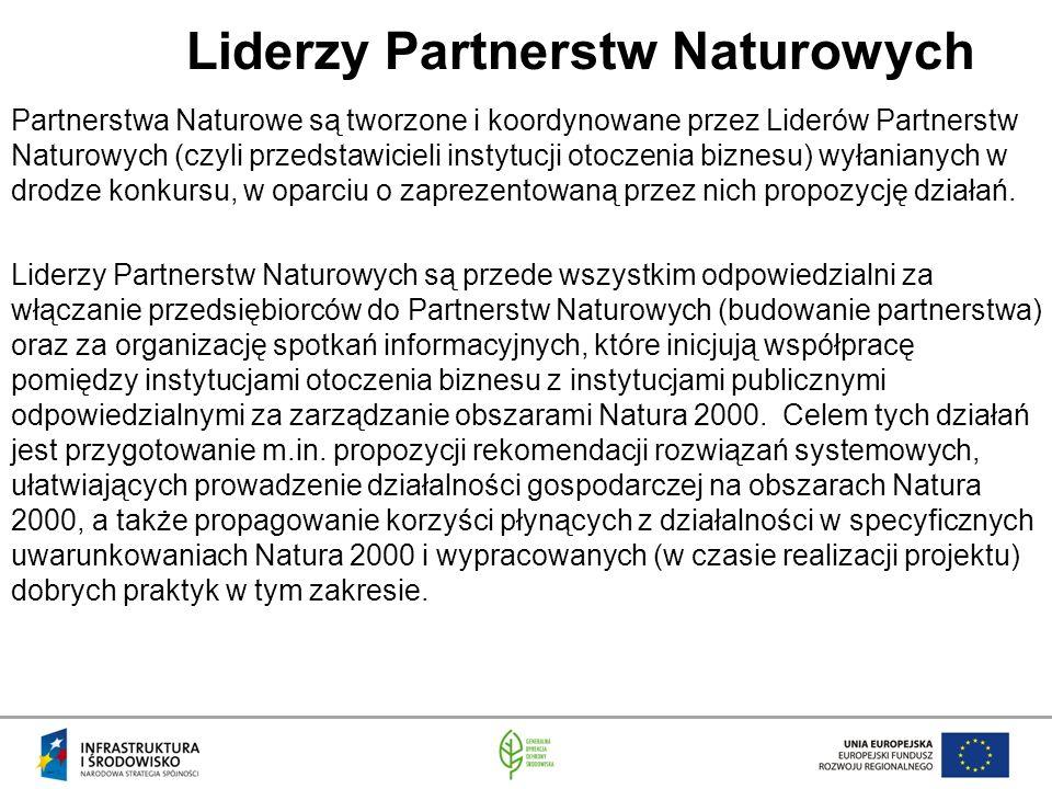 Liderzy Partnerstw Naturowych Partnerstwa Naturowe są tworzone i koordynowane przez Liderów Partnerstw Naturowych (czyli przedstawicieli instytucji otoczenia biznesu) wyłanianych w drodze konkursu, w oparciu o zaprezentowaną przez nich propozycję działań.