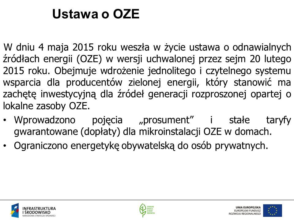 Ustawa o OZE W dniu 4 maja 2015 roku weszła w życie ustawa o odnawialnych źródłach energii (OZE) w wersji uchwalonej przez sejm 20 lutego 2015 roku.