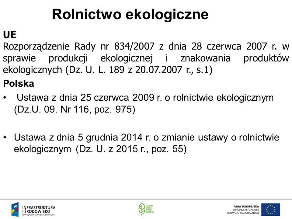 Rolnictwo ekologiczne UE Rozporządzenie Rady nr 834/2007 z dnia 28 czerwca 2007 r.