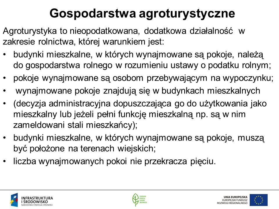 Gospodarstwa agroturystyczne Agroturystyka to nieopodatkowana, dodatkowa działalność w zakresie rolnictwa, której warunkiem jest: budynki mieszkalne, w których wynajmowane są pokoje, należą do gospodarstwa rolnego w rozumieniu ustawy o podatku rolnym; pokoje wynajmowane są osobom przebywającym na wypoczynku; wynajmowane pokoje znajdują się w budynkach mieszkalnych (decyzja administracyjna dopuszczająca go do użytkowania jako mieszkalny lub jeżeli pełni funkcję mieszkalną np.