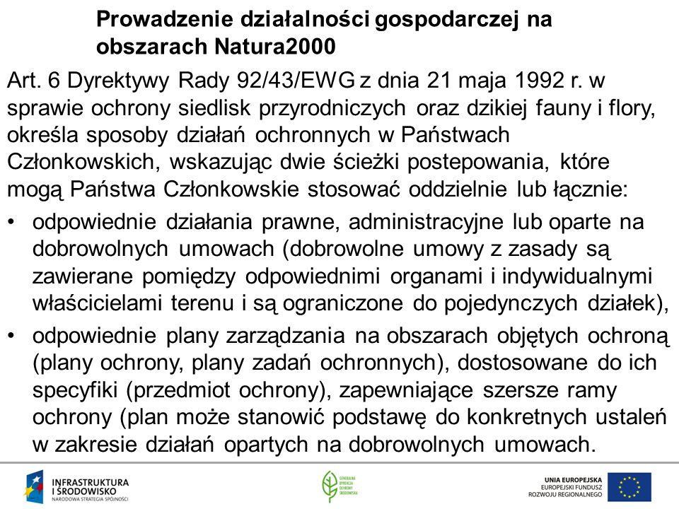 Prowadzenie działalności gospodarczej na obszarach Natura2000 Art.