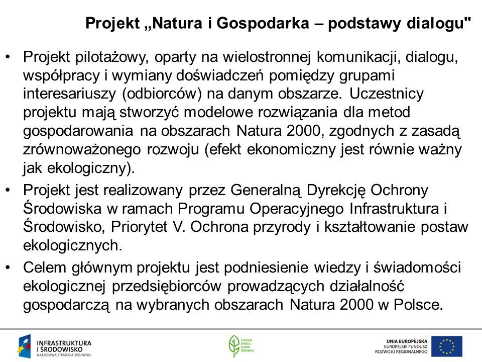 """Projekt """"Natura i Gospodarka – podstawy dialogu Projekt pilotażowy, oparty na wielostronnej komunikacji, dialogu, współpracy i wymiany doświadczeń pomiędzy grupami interesariuszy (odbiorców) na danym obszarze."""