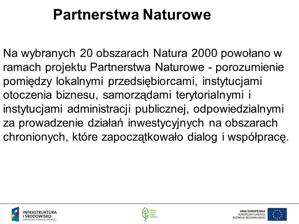 Partnerstwa Naturowe Na wybranych 20 obszarach Natura 2000 powołano w ramach projektu Partnerstwa Naturowe - porozumienie pomiędzy lokalnymi przedsiębiorcami, instytucjami otoczenia biznesu, samorządami terytorialnymi i instytucjami administracji publicznej, odpowiedzialnymi za prowadzenie działań inwestycyjnych na obszarach chronionych, które zapoczątkowało dialog i współpracę.