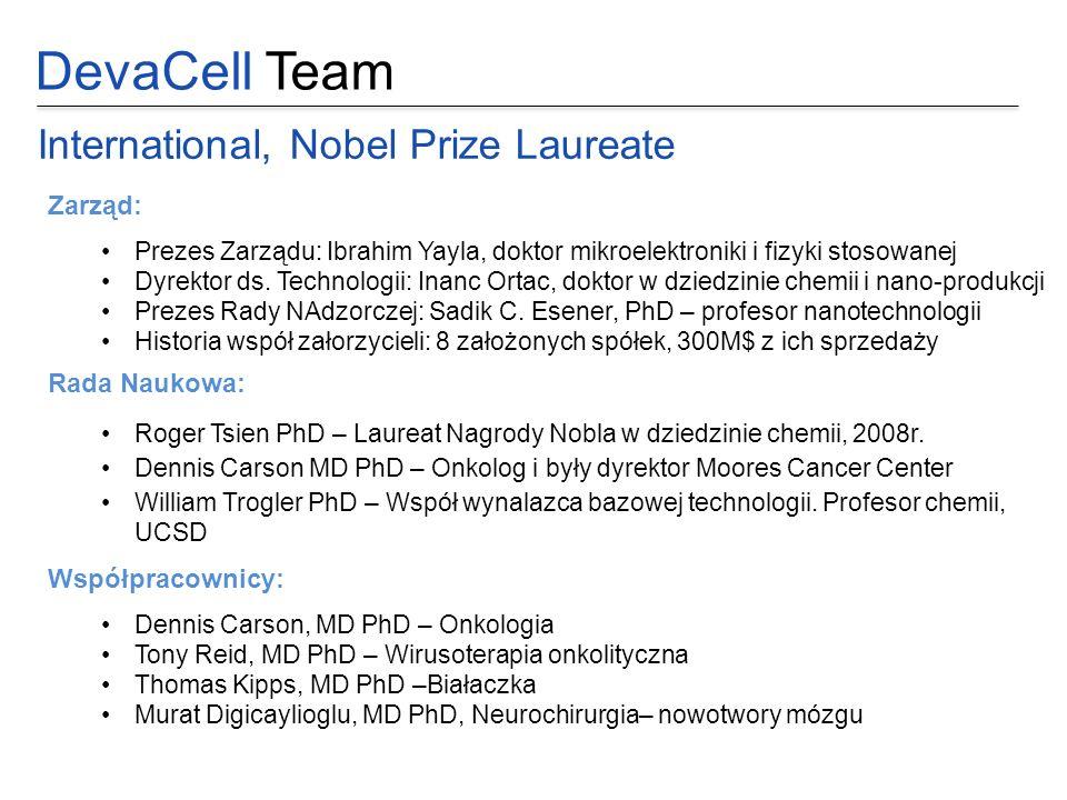 DevaCell Team International, Nobel Prize Laureate Zarząd: Prezes Zarządu: Ibrahim Yayla, doktor mikroelektroniki i fizyki stosowanej Dyrektor ds. Tech