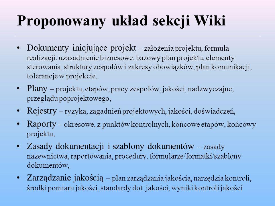 Proponowany układ sekcji Wiki Dokumenty inicjujące projekt – założenia projektu, formuła realizacji, uzasadnienie biznesowe, bazowy plan projektu, ele