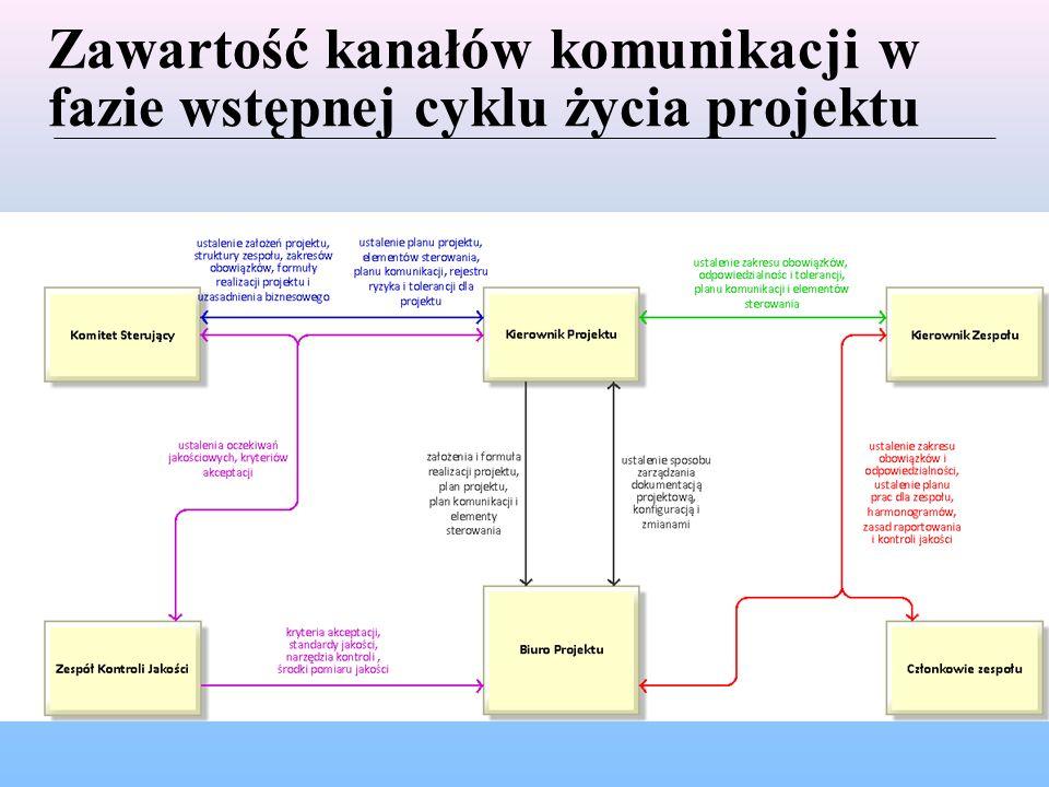 Zawartość kanałów komunikacji w fazie realizacji cyklu życia projektu