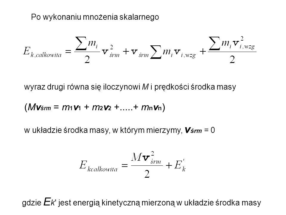 Po wykonaniu mnożenia skalarnego wyraz drugi równa się iloczynowi M i prędkości środka masy (Mv śrm = m 1 v 1 + m 2 v 2 +.....+ m n v n ) w układzie ś