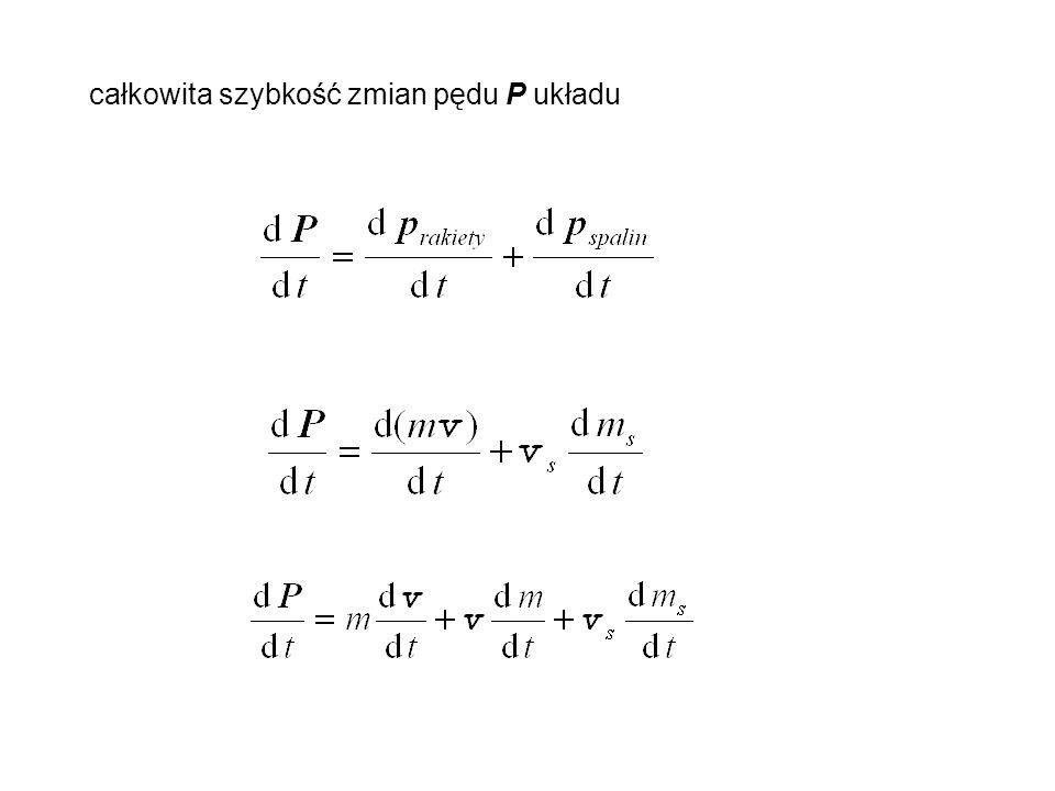 całkowita szybkość zmian pędu P układu