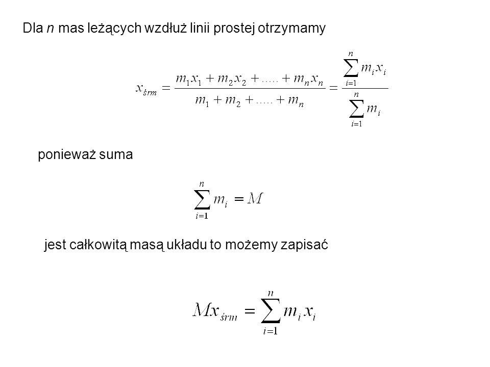 Po wykonaniu mnożenia skalarnego wyraz drugi równa się iloczynowi M i prędkości środka masy (Mv śrm = m 1 v 1 + m 2 v 2 +.....+ m n v n ) w układzie środka masy, w którym mierzymy, v śrm = 0 gdzie E k jest energią kinetyczną mierzoną w układzie środka masy