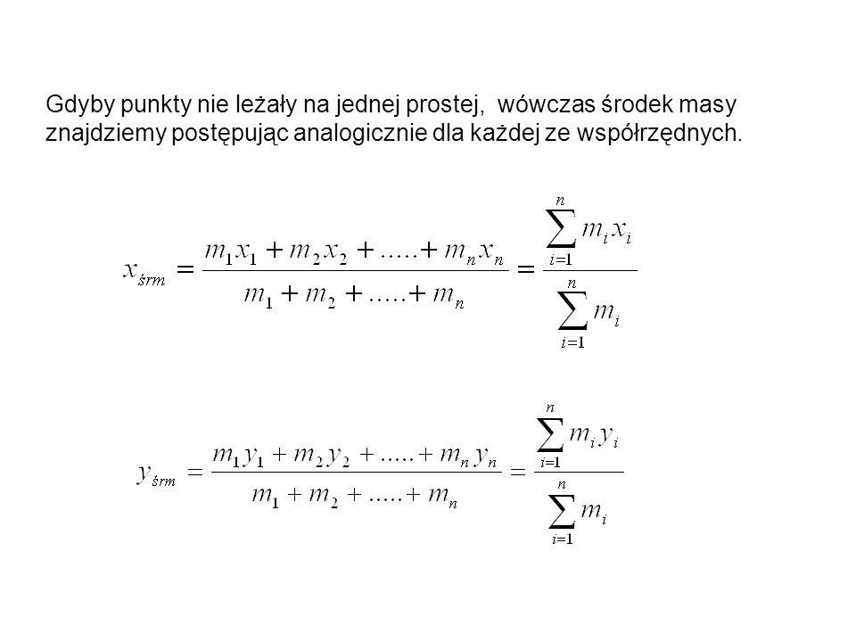 Gdyby punkty nie leżały na jednej prostej, wówczas środek masy znajdziemy postępując analogicznie dla każdej ze współrzędnych.