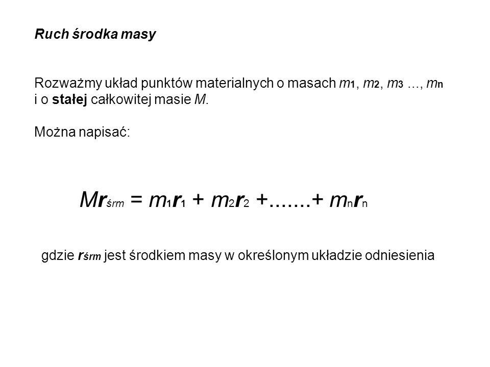 Ruch środka masy Rozważmy układ punktów materialnych o masach m 1, m 2, m 3..., m n i o stałej całkowitej masie M. Można napisać: Mr śrm = m 1 r 1 + m