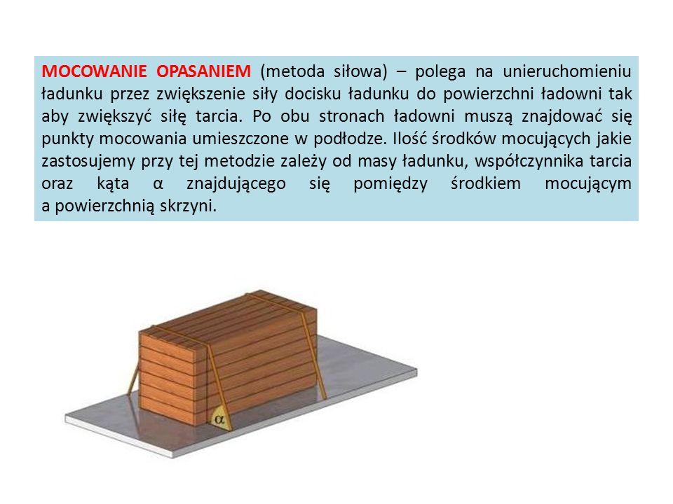 MOCOWANIE OPASANIEM (metoda siłowa) – polega na unieruchomieniu ładunku przez zwiększenie siły docisku ładunku do powierzchni ładowni tak aby zwiększy