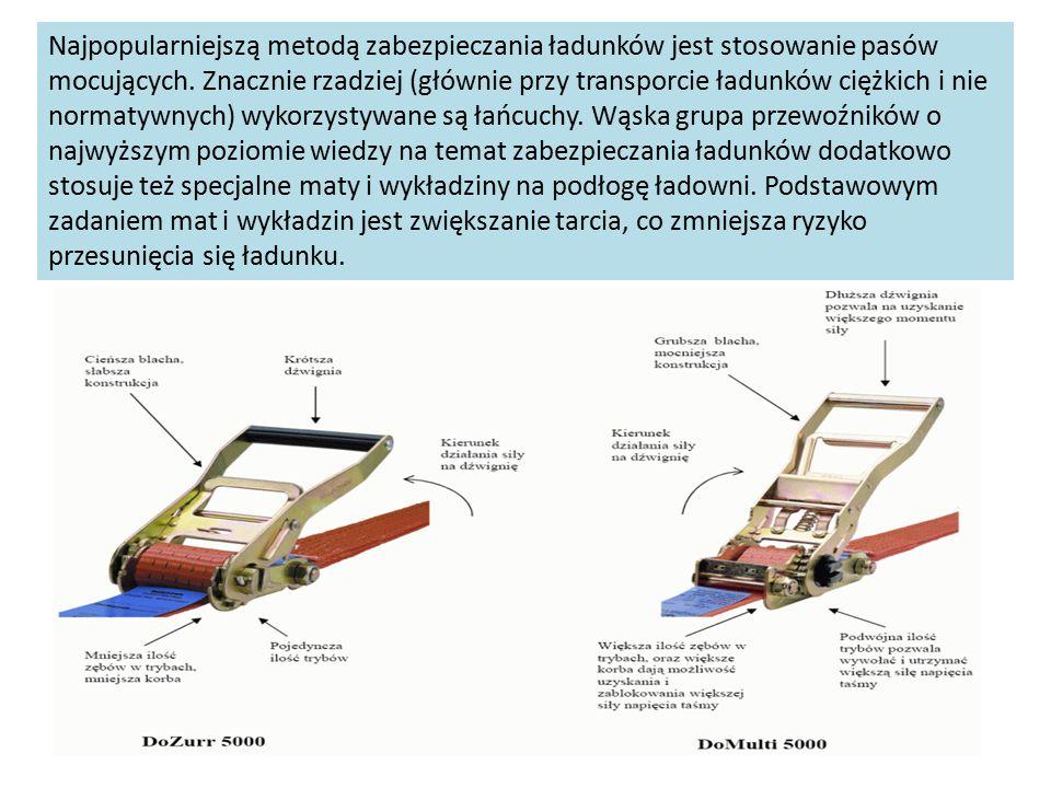 Najpopularniejszą metodą zabezpieczania ładunków jest stosowanie pasów mocujących. Znacznie rzadziej (głównie przy transporcie ładunków ciężkich i nie