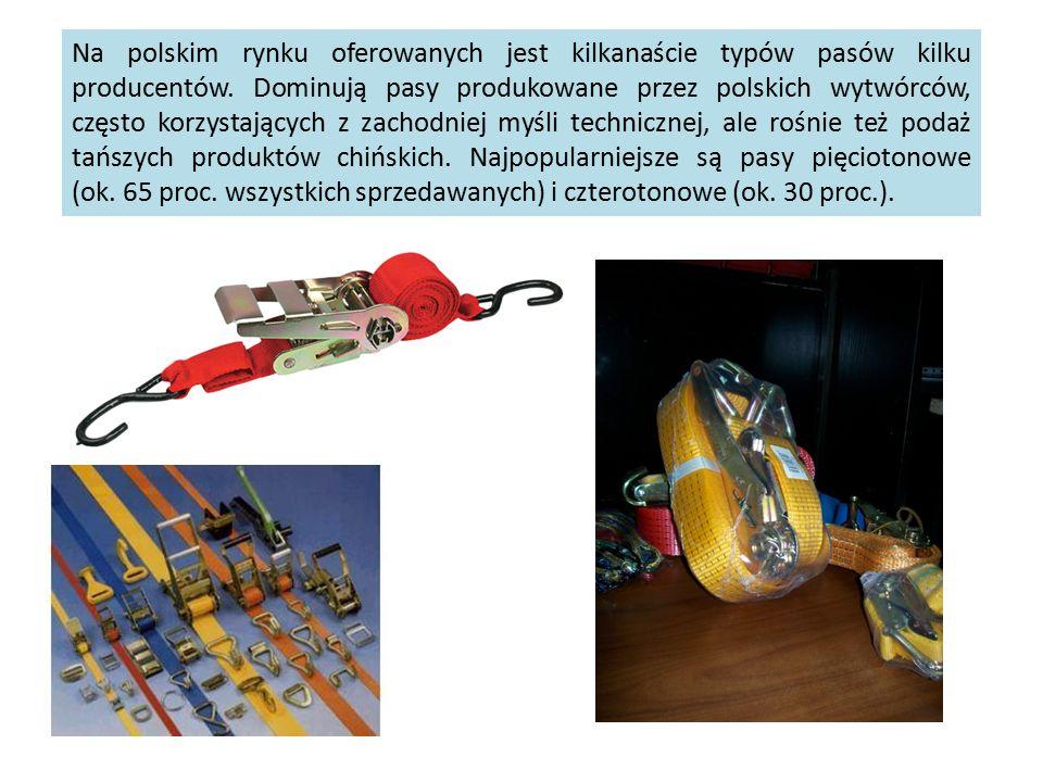 Na polskim rynku oferowanych jest kilkanaście typów pasów kilku producentów. Dominują pasy produkowane przez polskich wytwórców, często korzystających