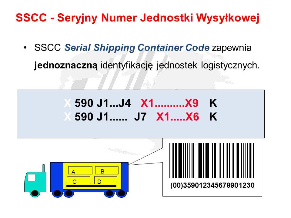 SSCC Serial Shipping Container Code zapewnia jednoznaczną identyfikację jednostek logistycznych. A B CD (00)359012345678901230 X 590 J1...J4 X1.......