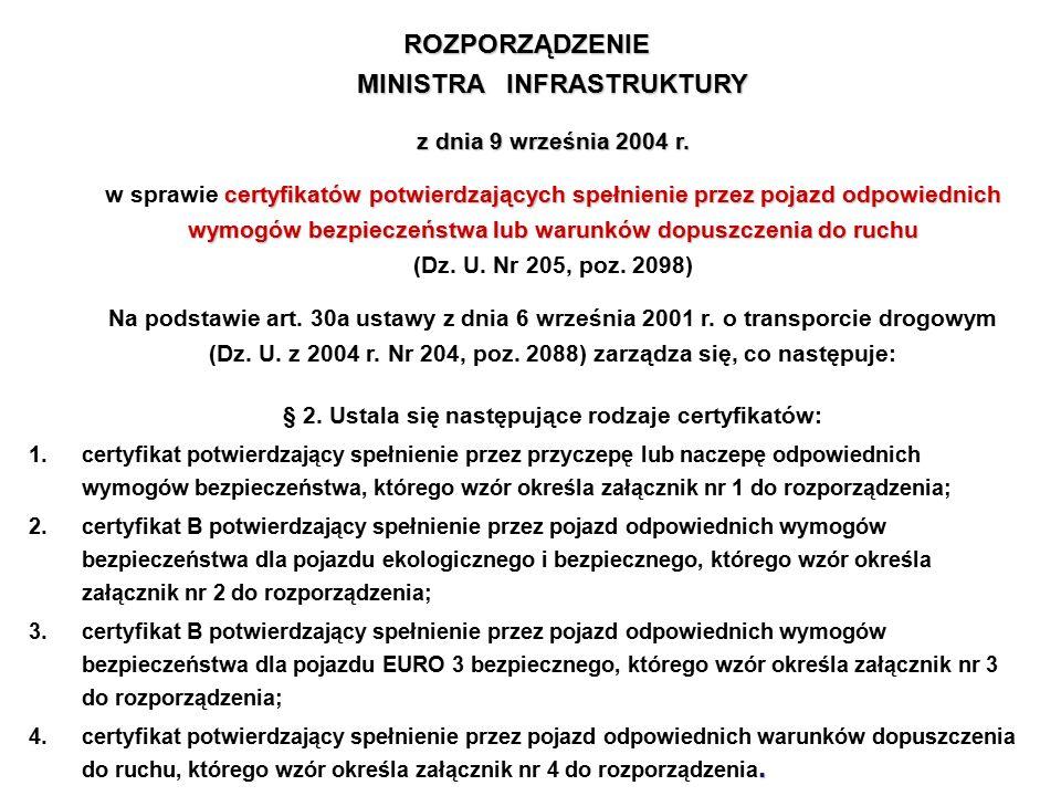 ROZPORZĄDZENIE MINISTRA INFRASTRUKTURY z dnia 9 września 2004 r. certyfikatów potwierdzających spełnienie przez pojazd odpowiednich wymogów bezpieczeń