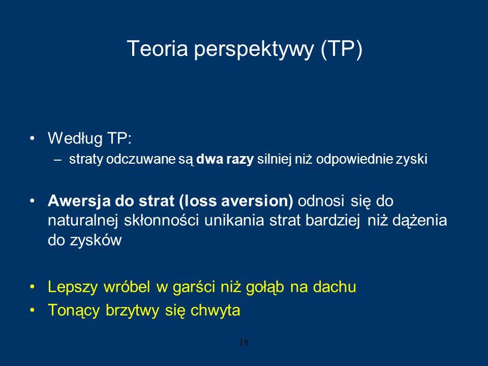 18 Teoria perspektywy (TP) Według TP: –straty odczuwane są dwa razy silniej niż odpowiednie zyski Awersja do strat (loss aversion) odnosi się do natur