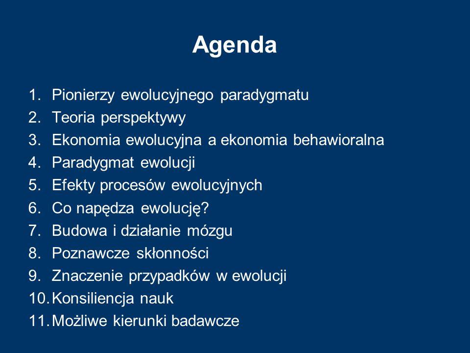 Agenda 1.Pionierzy ewolucyjnego paradygmatu 2.Teoria perspektywy 3.Ekonomia ewolucyjna a ekonomia behawioralna 4.Paradygmat ewolucji 5.Efekty procesów