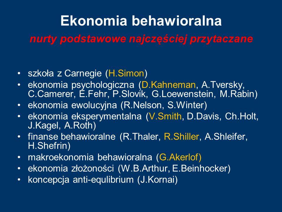 Ekonomia behawioralna nurty podstawowe najczęściej przytaczane szkoła z Carnegie (H.Simon) ekonomia psychologiczna (D.Kahneman, A.Tversky, C.Camerer,