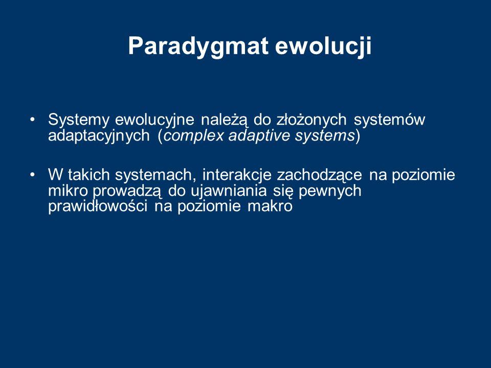 Paradygmat ewolucji Systemy ewolucyjne należą do złożonych systemów adaptacyjnych (complex adaptive systems) W takich systemach, interakcje zachodzące