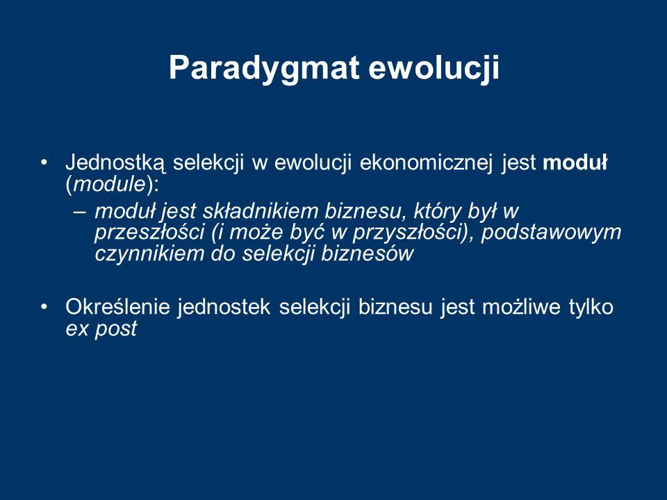 Paradygmat ewolucji Jednostką selekcji w ewolucji ekonomicznej jest moduł (module): –moduł jest składnikiem biznesu, który był w przeszłości (i może b