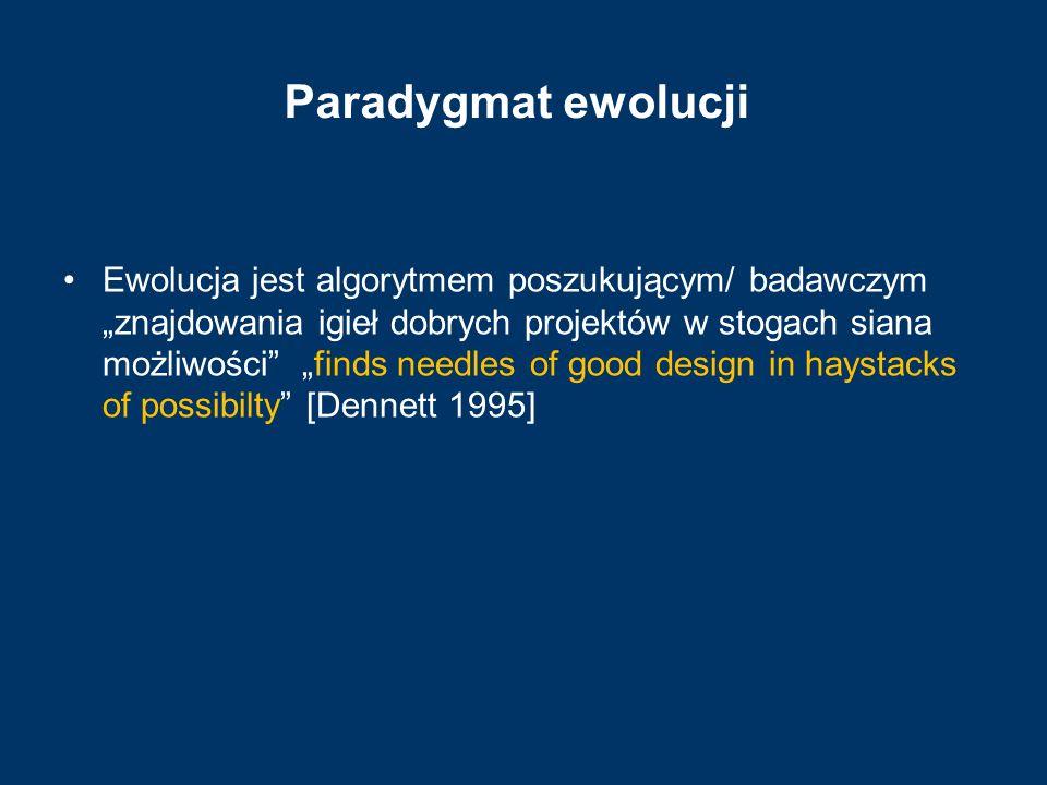 """Paradygmat ewolucji Ewolucja jest algorytmem poszukującym/ badawczym """"znajdowania igieł dobrych projektów w stogach siana możliwości"""" """"finds needles o"""
