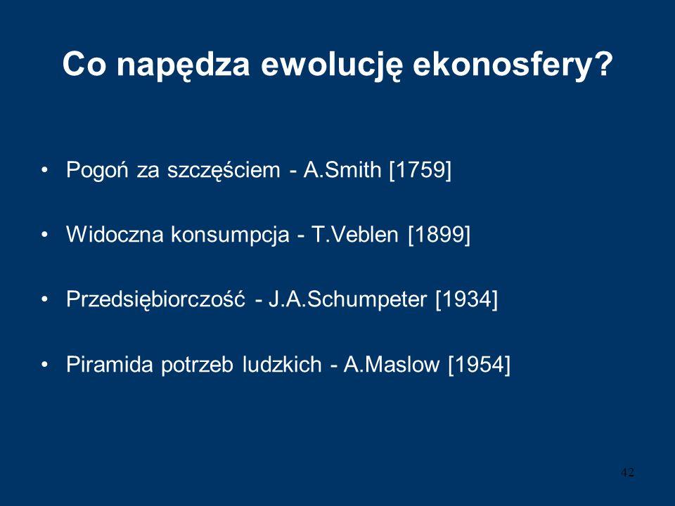 Co napędza ewolucję ekonosfery? Pogoń za szczęściem - A.Smith [1759] Widoczna konsumpcja - T.Veblen [1899] Przedsiębiorczość - J.A.Schumpeter [1934] P