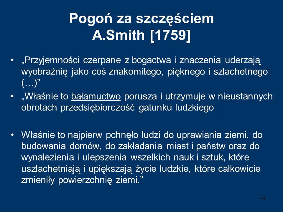 """Pogoń za szczęściem A.Smith [1759] """"Przyjemności czerpane z bogactwa i znaczenia uderzają wyobraźnię jako coś znakomitego, pięknego i szlachetnego (…)"""