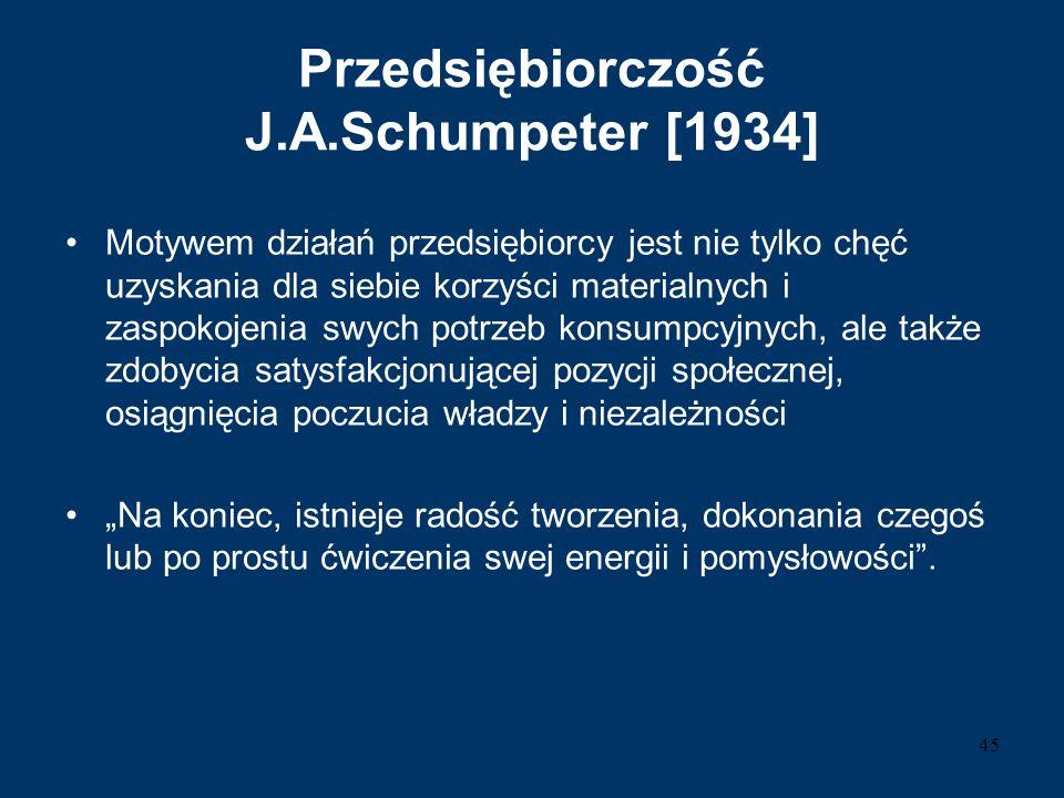 Przedsiębiorczość J.A.Schumpeter [1934] Motywem działań przedsiębiorcy jest nie tylko chęć uzyskania dla siebie korzyści materialnych i zaspokojenia s