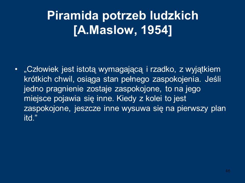 """Piramida potrzeb ludzkich [A.Maslow, 1954] """"Człowiek jest istotą wymagającą i rzadko, z wyjątkiem krótkich chwil, osiąga stan pełnego zaspokojenia. Je"""