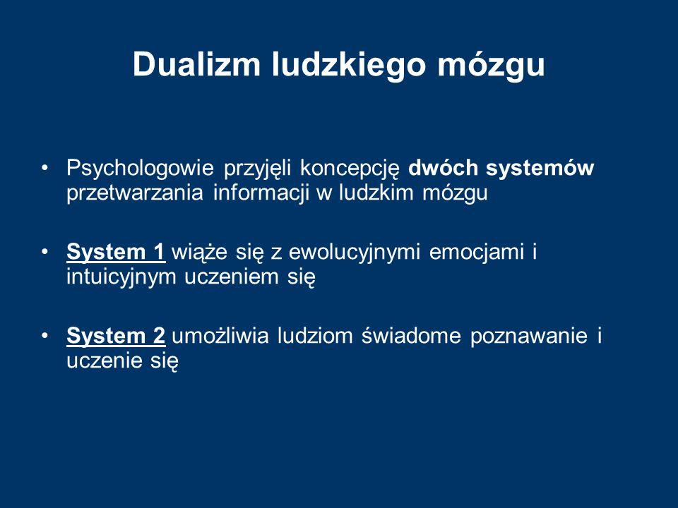 Dualizm ludzkiego mózgu Psychologowie przyjęli koncepcję dwóch systemów przetwarzania informacji w ludzkim mózgu System 1 wiąże się z ewolucyjnymi emo