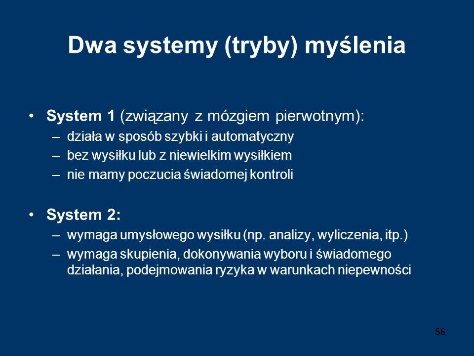 Dwa systemy (tryby) myślenia System 1 (związany z mózgiem pierwotnym): –działa w sposób szybki i automatyczny –bez wysiłku lub z niewielkim wysiłkiem