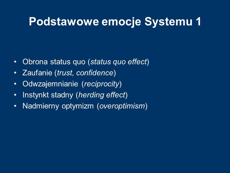 Podstawowe emocje Systemu 1 Obrona status quo (status quo effect) Zaufanie (trust, confidence) Odwzajemnianie (reciprocity) Instynkt stadny (herding e