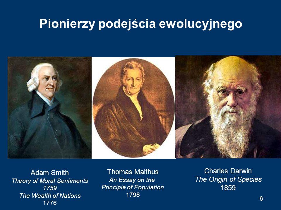 Paradygmat ewolucji Trzy etapy formuły ewolucji: –różnicowanie (differentiation, mutation, search) –selekcja (selection) –rozpowszechnianie (amplification, replication) Formuła ewolucji jako podstawowy paradygmat wyjaśniający zjawiska rozwoju społecznego